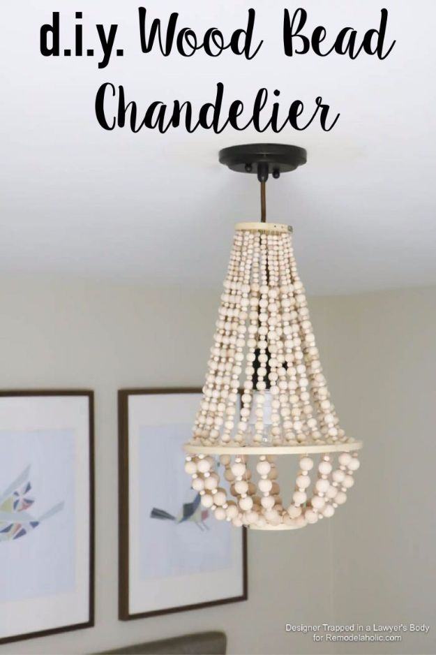 DIY Lighting Ideas and Cool DIY Light Projects for the Home - DIY Wood Bead Chandelier - Easy DIY Ideas for Chandeliers, lights, lamps, awesome pendants and creative hanging fixtures, complete with tutorials with instructions. Cheap do it yourself lighting tutorials for indoor - bedroom, living room, bathroom, kitchen DIY Projects and Crafts for Women and Men http://diyjoy.com/diy-indoor-lighting-ideas