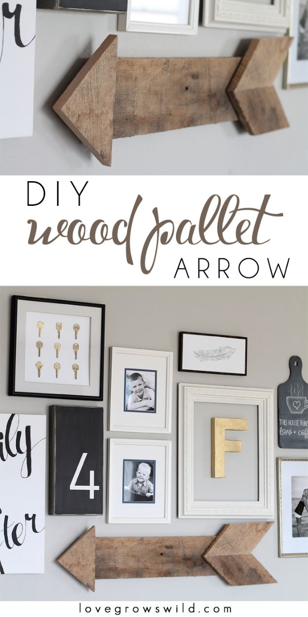 Rustic Wall Art Ideas - DIY Wood Pallet Arrow - DIY Farmhouse Wall Art and Vintage Decor for Walls - Country Crafts and Rustic Home Decor Made Easy With Instructions and Tutorials - String Art, Repurposed Pallet Projects, Mason Jar Crafts, Vintage Signs, Word Art and Letters, Monograms and Sewing Projects http://diyjoy.com/rustic-wall-art-ideas