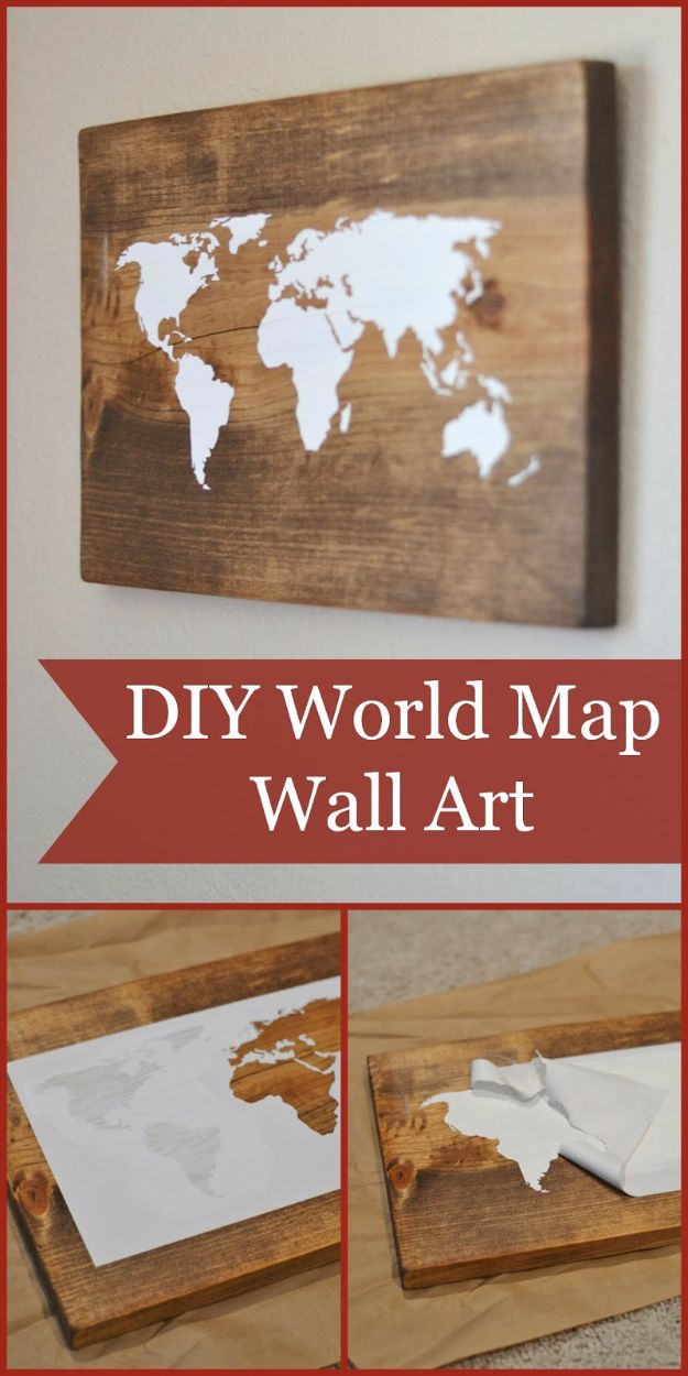 Rustic Wall Art Ideas - DIY World Map Wall Art - DIY Farmhouse Wall Art and Vintage Decor for Walls - Country Crafts and Rustic Home Decor Made Easy With Instructions and Tutorials - String Art, Repurposed Pallet Projects, Mason Jar Crafts, Vintage Signs, Word Art and Letters, Monograms and Sewing Projects http://diyjoy.com/rustic-wall-art-ideas