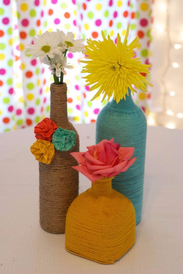 DIY Ideas With Yarn and Best Yarn Crafts - DIY Wrapped Bottles In Yarn - Wall Hangings, Easy Dream Catchers, Crochet Ideas for Teens, Adults and Kids - Knitting , No Sew and Weaving Projects Make Awesome Wall Art and Home Decor on A Budget