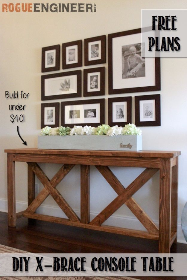 DIY Media Consoles and TV Stands - DIY X Brace Console Table - Make a Do It Yourself Entertainment Center With These Easy Step By Step Tutorials - Easy Farmhouse Decor Media Stand for Television - Free Plans and Instructions for Building and Painting Your Own DIY Furniture - IKEA Hacks for TV Stand Idea - Quick and Easy Ways to Decorate Your Home On A Budget http://diyjoy.com/diy-tv-media-consoles