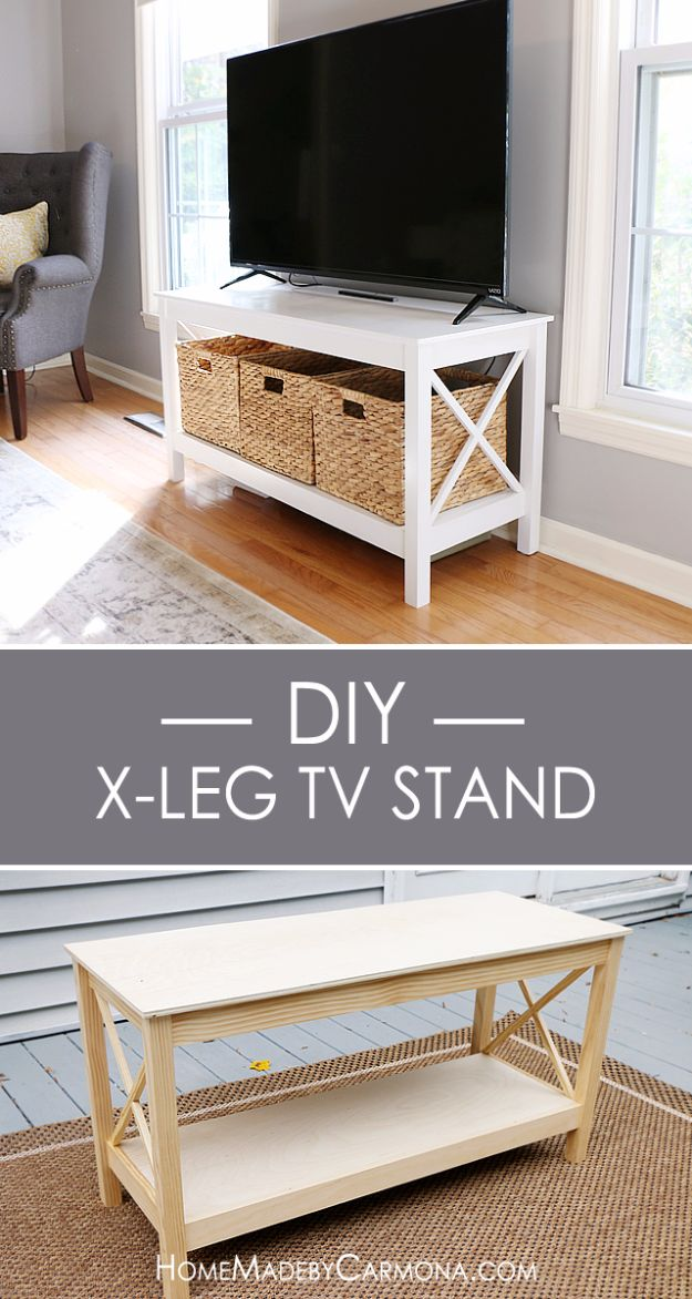 DIY Media Consoles and TV Stands - DIY X Leg TV Stand - Make a Do It Yourself Entertainment Center With These Easy Step By Step Tutorials - Easy Farmhouse Decor Media Stand for Television - Free Plans and Instructions for Building and Painting Your Own DIY Furniture - IKEA Hacks for TV Stand Idea - Quick and Easy Ways to Decorate Your Home On A Budget http://diyjoy.com/diy-tv-media-consoles