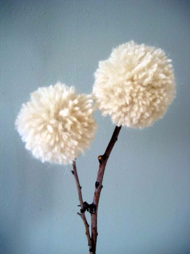 DIY Ideas With Yarn and Best Yarn Crafts - DIY Yarn and Twig Dandelions - Wall Hangings, Easy Dream Catchers, Crochet Ideas for Teens, Adults and Kids - Knitting , No Sew and Weaving Projects Make Awesome Wall Art and Home Decor on A Budget
