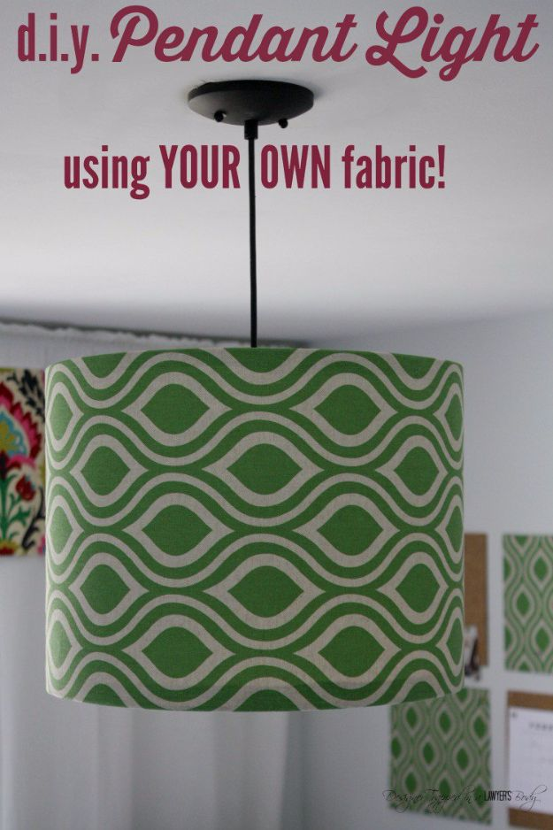 DIY Lighting Ideas and Cool DIY Light Projects for the Home - DIY Fabric Pendant Light - Easy DIY Ideas for Chandeliers, lights, lamps, awesome pendants and creative hanging fixtures, complete with tutorials with instructions. Cheap do it yourself lighting tutorials for indoor - bedroom, living room, bathroom, kitchen DIY Projects and Crafts for Women and Men