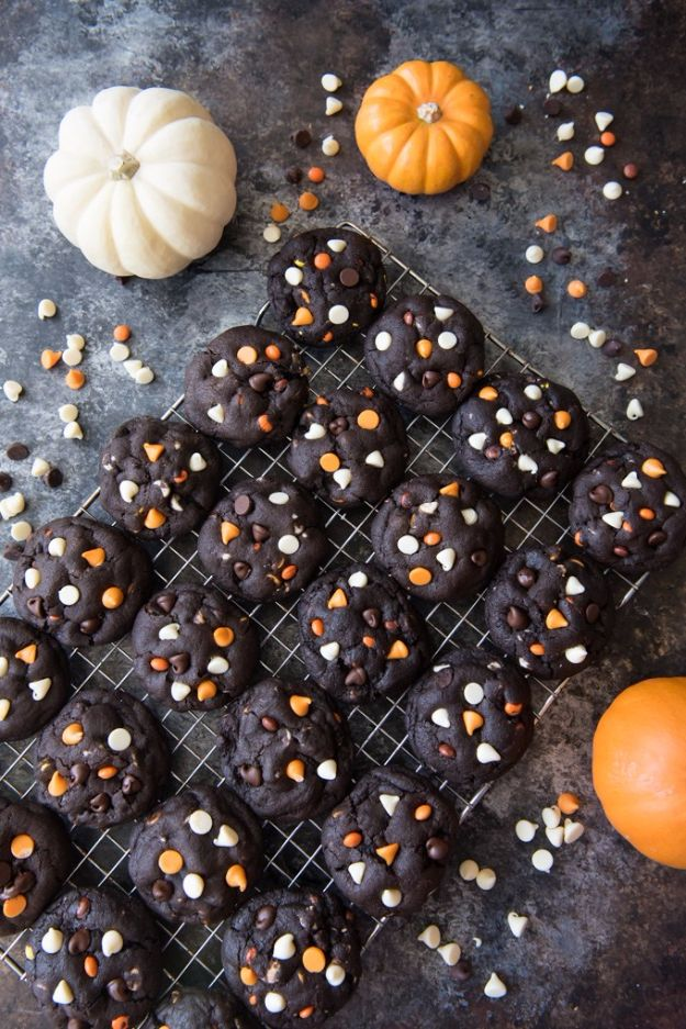 Cute Halloween Cookies - Dark Chocolate Halloween Chip Cookies - Easy Recipes and Cookie Tutorials for Making Quick Halloween Treats - Spooky DIY Decorated Ghosts, Pumpkins, Bats, No Bake, Spiders and Spiderwebs, Tombstones and Healthy Options, Kids and Teens Cookies for School #halloween #halloweencookies