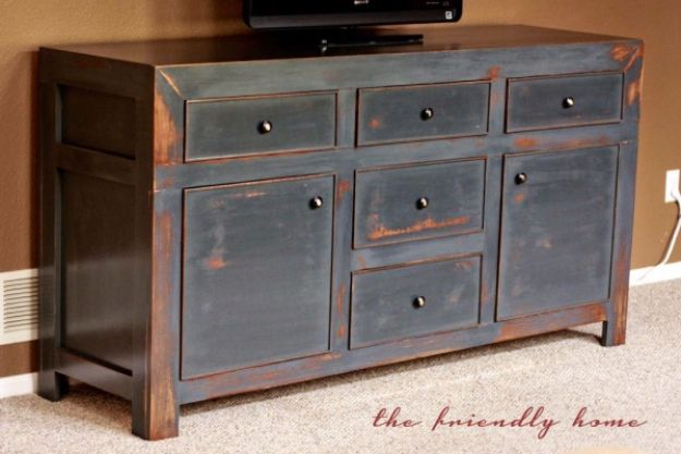 DIY Media Consoles and TV Stands - Dawsen Media Console - Make a Do It Yourself Entertainment Center With These Easy Step By Step Tutorials - Easy Farmhouse Decor Media Stand for Television - Free Plans and Instructions for Building and Painting Your Own DIY Furniture - IKEA Hacks for TV Stand Idea - Quick and Easy Ways to Decorate Your Home On A Budget http://diyjoy.com/diy-tv-media-consoles