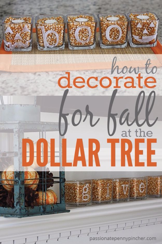 Best Crafts for Fall Decorating - Decorate For Fall At The Dollar Tree - DIY Home Decor, Mason Jar Ideas, Dollar Store Crafts, Rustic Pumpkin Ideas, Wreaths, Candles and Wall Art, Centerpieces, Wedding Decorations, Homemade Gifts, Craft Projects with Leaves, Flowers and Burlap, Painted Art, Candles and Luminaries for Cool Home Decor - Quick and Easy Projects With Step by Step Tutorials and Instructions http://diyjoy.com/best-fall-decorating-ideas