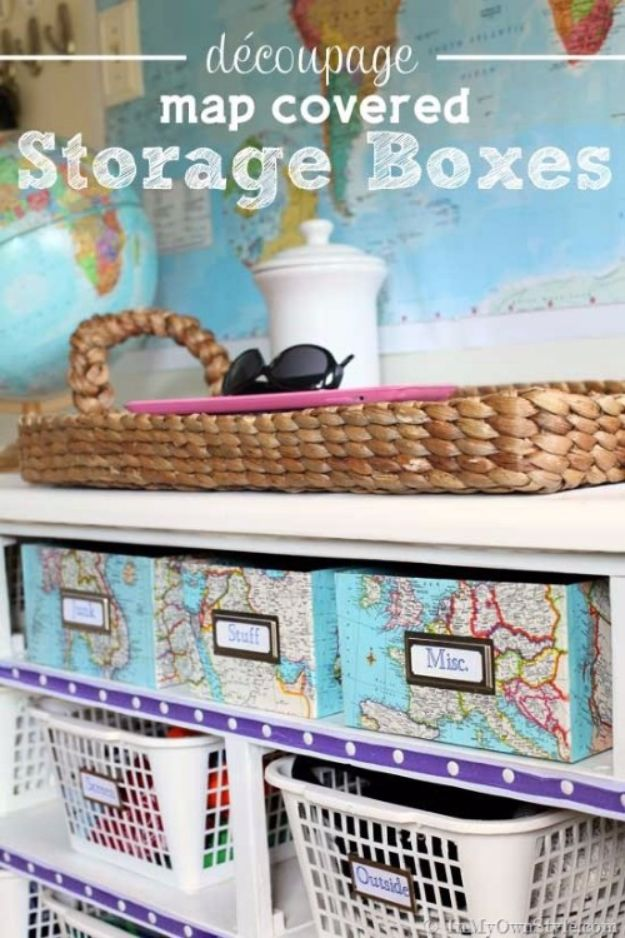 DIY Ideas With Shoe Boxes - Decoupage Map Covered Storage Boxes - Shoe Box Crafts and Organizers for Storage - How To Make A Shelf, Makeup Organizer, Kids Room Decoration, Storage Ideas Projects - Cheap Home Decor DIY Ideas for Kids, Adults and Teens Rooms http://diyjoy.com/diy-ideas-shoe-boxes