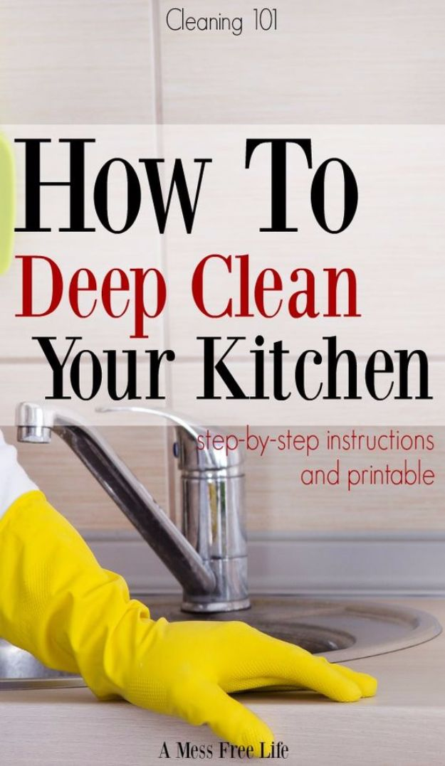Cleaning Tips and Tricks - Deep Clean Your Kitchen - Best Cleaning Hacks, Recipes and Tutorials - Daily Ways to Clean For Kitchen, For Couches, Bathroom, Bedroom, Laundry, Floors, Furniture, Windows, Cleaners and More for Cleaning Your Home- Quick Ideas for Lazy People - Cool Cleaning Hack Tutorial - DIY Projects and Crafts by DIY JOY http://diyjoy.com/diy-cleaning-tips-tricks