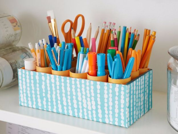 DIY Ideas With Shoe Boxes - Desk Caddy - Shoe Box Crafts and Organizers for Storage - How To Make A Shelf, Makeup Organizer, Kids Room Decoration, Storage Ideas Projects - Cheap Home Decor DIY Ideas for Kids, Adults and Teens Rooms http://diyjoy.com/diy-ideas-shoe-boxes