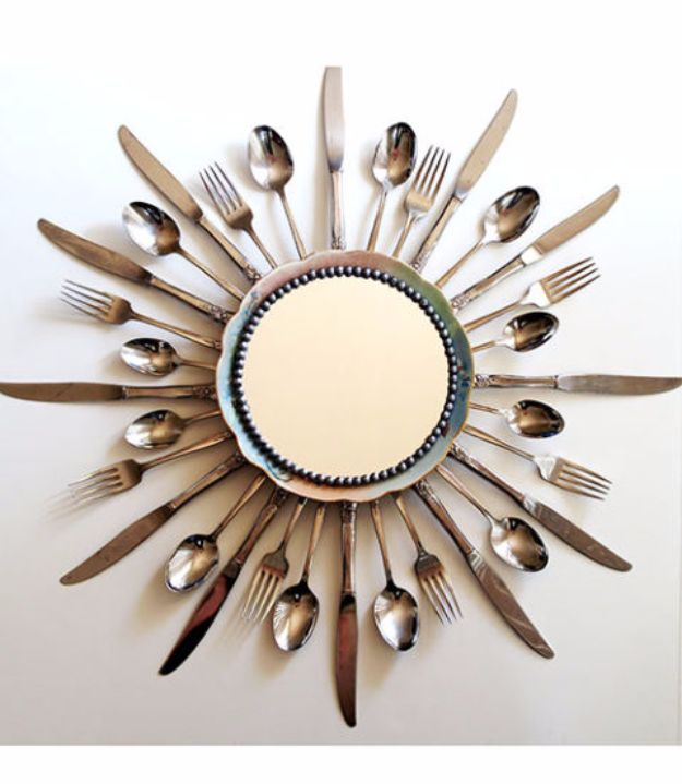DIY Silverware Upgrades - Dining Room Starburst Mirror - Creative Ways To Improve Boring Silver Ware and Palce Settings - Paint, Decorate and Update Your Flatware With These Creative Do IT Yourself Tutorials- Forks, Knives and Spoons all Get Dressed Up With These New Looks For Kitchen and Dining Room http://diyjoy.com/diy-silverware-upgrades