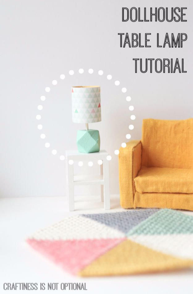 DIY Lighting Ideas and Cool DIY Light Projects for the Home - Dollhouse Table Lamp - Easy DIY Ideas for Chandeliers, lights, lamps, awesome pendants and creative hanging fixtures, complete with tutorials with instructions. Cheap do it yourself lighting tutorials for indoor - bedroom, living room, bathroom, kitchen DIY Projects and Crafts for Women and Men