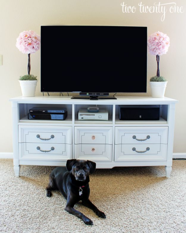 DIY Media Consoles and TV Stands - Dresser Turned TV Stand - Make a Do It Yourself Entertainment Center With These Easy Step By Step Tutorials - Easy Farmhouse Decor Media Stand for Television - Free Plans and Instructions for Building and Painting Your Own DIY Furniture - IKEA Hacks for TV Stand Idea - Quick and Easy Ways to Decorate Your Home On A Budget http://diyjoy.com/diy-tv-media-consoles