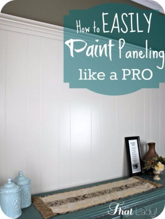 Easy Home Repair Hacks - Easily Paint Over Wood Paneling - Quick Ways to Easily Fix Broken Things Around The House - DIY Tricks for Home Improvement and Repairs - Simple Solutions for Kitchen, Bath, Garage and Yard - Caulk, Grout, Wall Repair and Wood Patching and Staining http://diyjoy.com/easy-home-repair-hacks