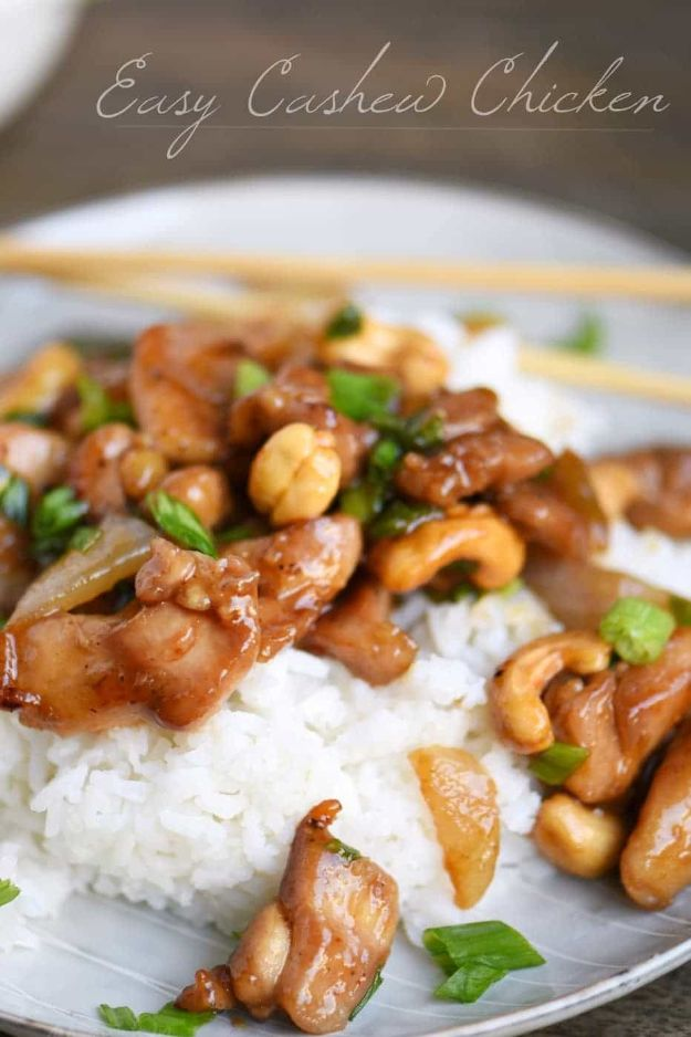 Easy Dinner Ideas for One - Easy Cashew Chicken - Quick, Fast and Simple Recipes to Make for a Single Person - Freeze and Make Ahead Dinner Recipe Tips for Best Weeknight Dinners for Singles - Chicken, Fish, Vegetable, No Bake and Vegetarian Options - Crockpot, Microwave, Healthy, Lowfat Options