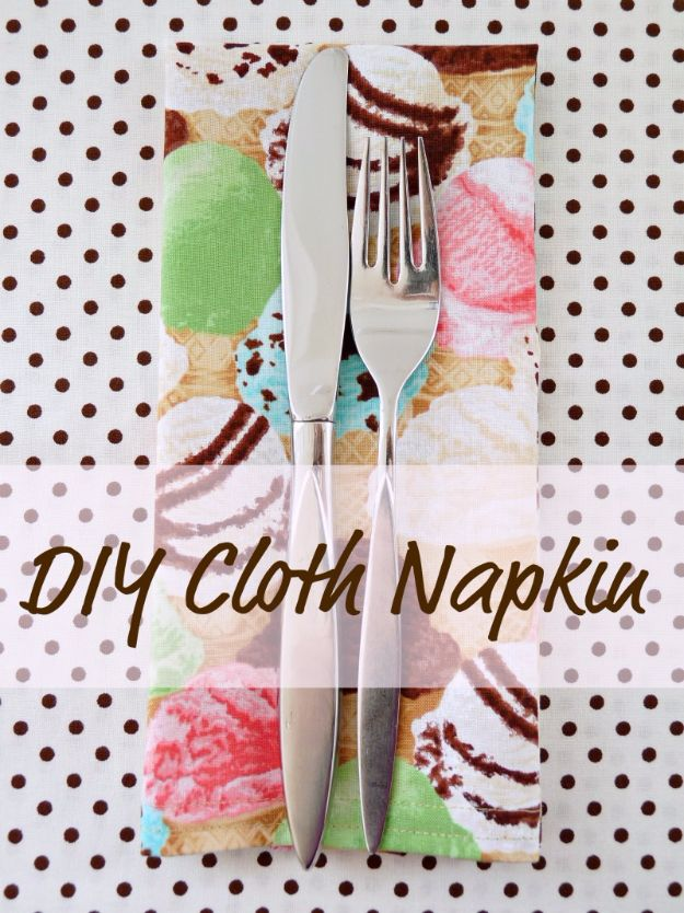 DIY Napkins and Placemats - Easy DIY Cloth Napkin - Easy Sewing Projects, Cute No Sew Ideas and Creative Ways To Make a Napkin or Placemat - Quick DIY Gift Ideas for Friends, Family and Awesome Home Decor - Cheap Do It Yourself Kitchen Decor - Simple Wedding Gifts You Can Make On A Budget