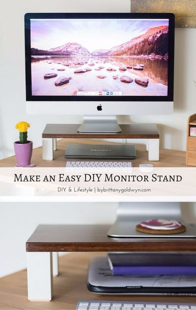 DIY Ideas for Your Computer - Easy DIY Computer Stand - Cool Desk, Home Office, Bulletin Boards and Tech Projects for Kids, Awesome Tips and Tricks for Your Laptop and Desktop, Best Shortcuts and Neat Ways To Make Your Computer Even Better With Productivity Tips http://diyjoy.com/diy-ideas-computer