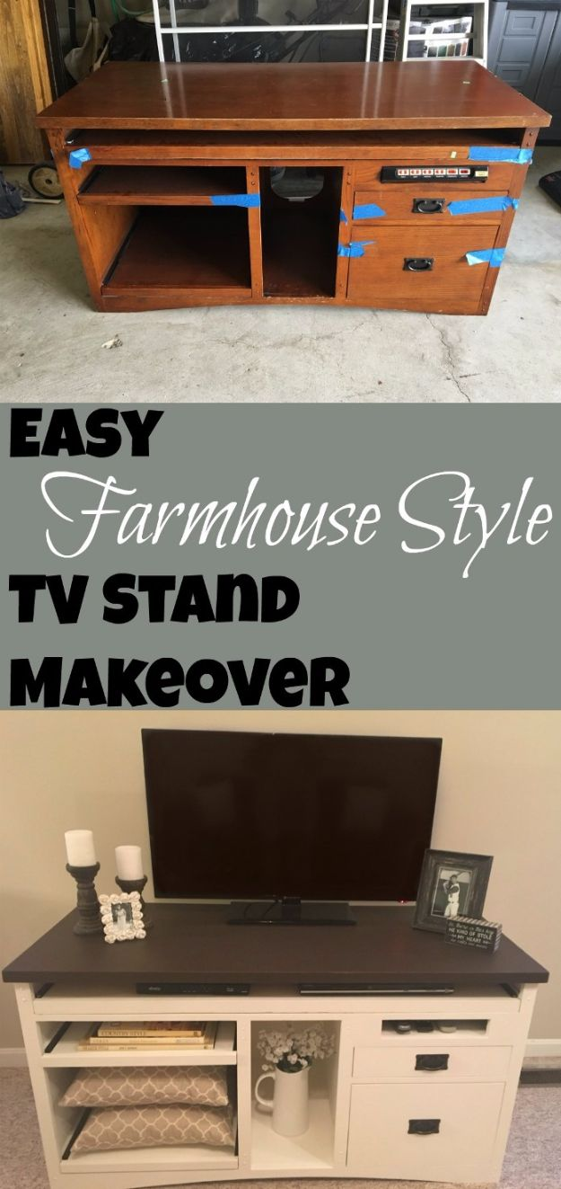 DIY Media Consoles and TV Stands - Easy Farmhouse Style TV Stand Makeover - Make a Do It Yourself Entertainment Center With These Easy Step By Step Tutorials - Easy Farmhouse Decor Media Stand for Television - Free Plans and Instructions for Building and Painting Your Own DIY Furniture - IKEA Hacks for TV Stand Idea - Quick and Easy Ways to Decorate Your Home On A Budget http://diyjoy.com/diy-tv-media-consoles