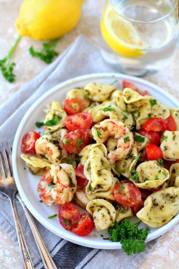 Easy Dinner Ideas for Two - Easy Pesto Shrimp Tortellini Salad - Quick, Fast and Simple Recipes to Make for Two People - Freeze and Make Ahead Dinner Recipe Tips for Best Weeknight Dinners - Chicken, Fish, Vegetable, No Bake and Vegetarian Options - Crockpot, Microwave, Healthy, Lowfat