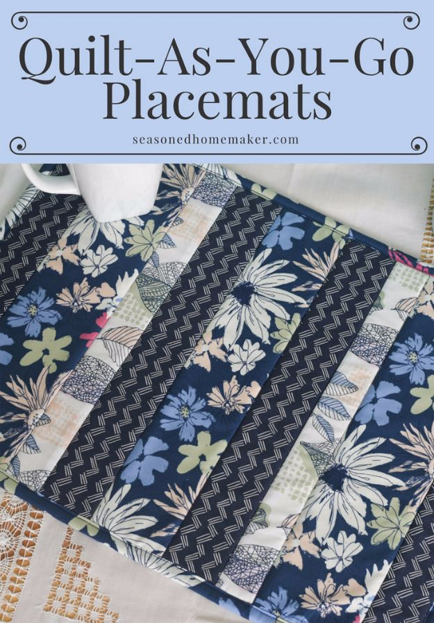 DIY Napkins and Placemats - Easy Quilt As You Go Placemats - Easy Sewing Projects, Cute No Sew Ideas and Creative Ways To Make a Napkin or Placemat - Quick DIY Gift Ideas for Friends, Family and Awesome Home Decor - Cheap Do It Yourself Kitchen Decor - Simple Wedding Gifts You Can Make On A Budget http://diyjoy.com/diy-napkins-placemats