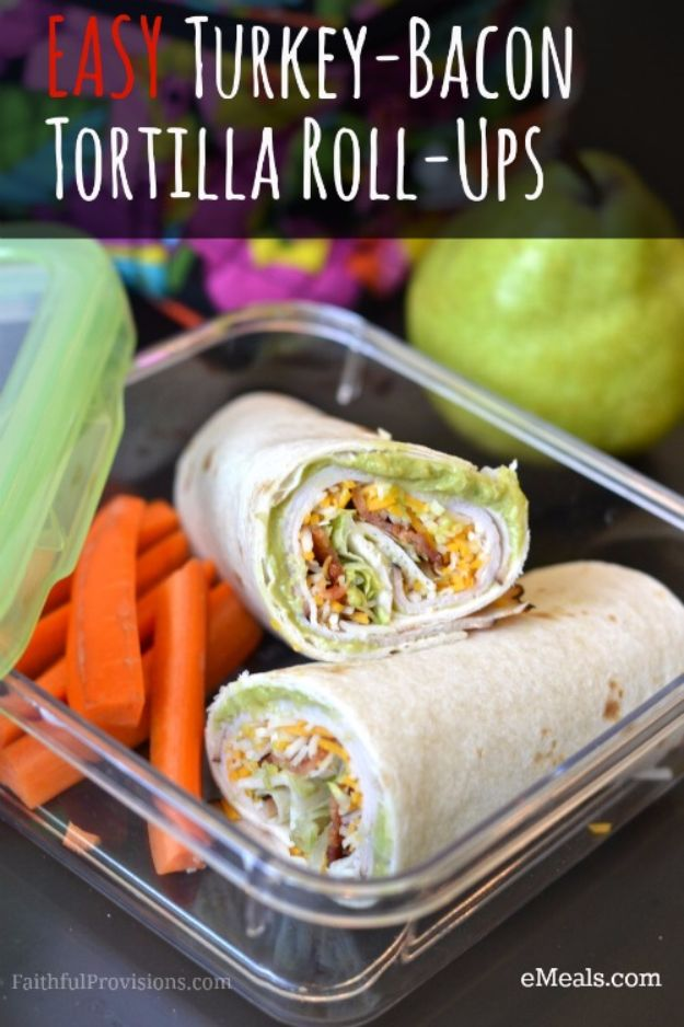 Back to School Lunch Ideas - Easy Turkey-Bacon Tortilla Roll-Ups - Quick Snacks, Lunches and Homemade Lunchables - Bento Box Style Lunch for People in A Hurry - Fast Lunch Recipes to Pack Ahead - Healthy Ideas for Kids, Teens and Adults