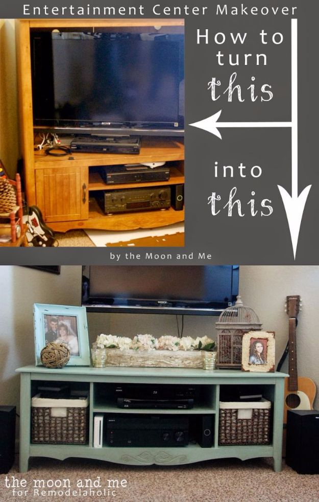 DIY Media Consoles and TV Stands - Entertainment Center Into A TV Console Table - Make a Do It Yourself Entertainment Center With These Easy Step By Step Tutorials - Easy Farmhouse Decor Media Stand for Television - Free Plans and Instructions for Building and Painting Your Own DIY Furniture - IKEA Hacks for TV Stand Idea - Quick and Easy Ways to Decorate Your Home On A Budget #diyhomedecor