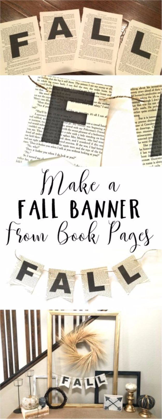 Best Crafts for Fall Decorating - Fall Banner made from Book Pages - DIY Home Decor, Mason Jar Ideas, Dollar Store Crafts, Rustic Pumpkin Ideas, Wreaths, Candles and Wall Art, Centerpieces, Wedding Decorations, Homemade Gifts, Craft Projects with Leaves, Flowers and Burlap, Painted Art, Candles and Luminaries for Cool Home Decor - Quick and Easy Projects With Step by Step Tutorials and Instructions