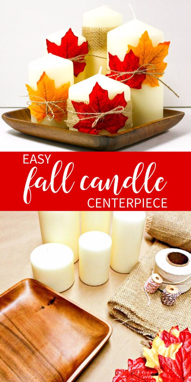 Best Crafts for Fall Decorating - Fall Candle Centerpiece - DIY Home Decor, Mason Jar Ideas, Dollar Store Crafts, Rustic Pumpkin Ideas, Wreaths, Candles and Wall Art, Centerpieces, Wedding Decorations, Homemade Gifts, Craft Projects with Leaves, Flowers and Burlap, Painted Art, Candles and Luminaries for Cool Home Decor - Quick and Easy Projects With Step by Step Tutorials and Instructions http://diyjoy.com/best-fall-decorating-ideas