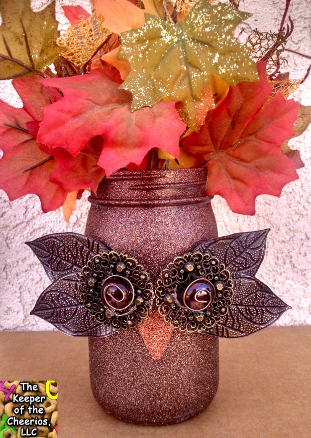 Best Crafts for Fall Decorating - Fall Owl Mason Jar - DIY Home Decor, Mason Jar Ideas, Dollar Store Crafts, Rustic Pumpkin Ideas, Wreaths, Candles and Wall Art, Centerpieces, Wedding Decorations, Homemade Gifts, Craft Projects with Leaves, Flowers and Burlap, Painted Art, Candles and Luminaries for Cool Home Decor - Quick and Easy Projects With Step by Step Tutorials and Instructions http://diyjoy.com/best-fall-decorating-ideas