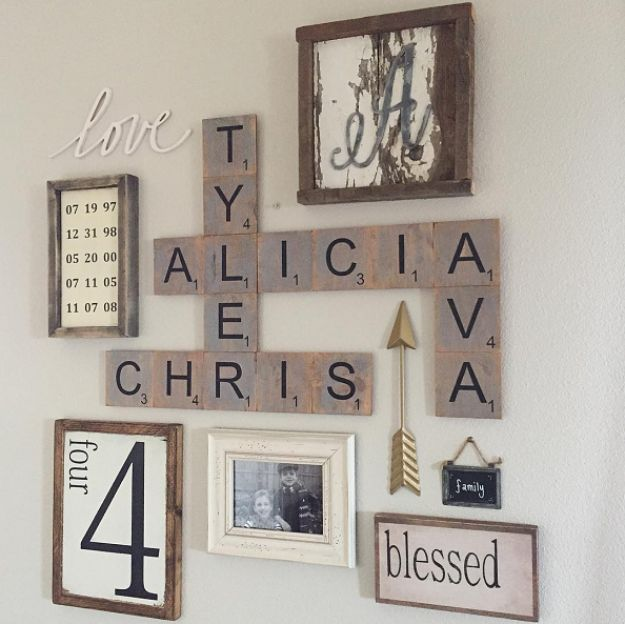 Rustic Wall Art Ideas - Family Wood Scrabble Wall Art - DIY Farmhouse Wall Art and Vintage Decor for Walls - Country Crafts and Rustic Home Decor Made Easy With Instructions and Tutorials - String Art, Repurposed Pallet Projects, Mason Jar Crafts, Vintage Signs, Word Art and Letters, Monograms and Sewing Projects