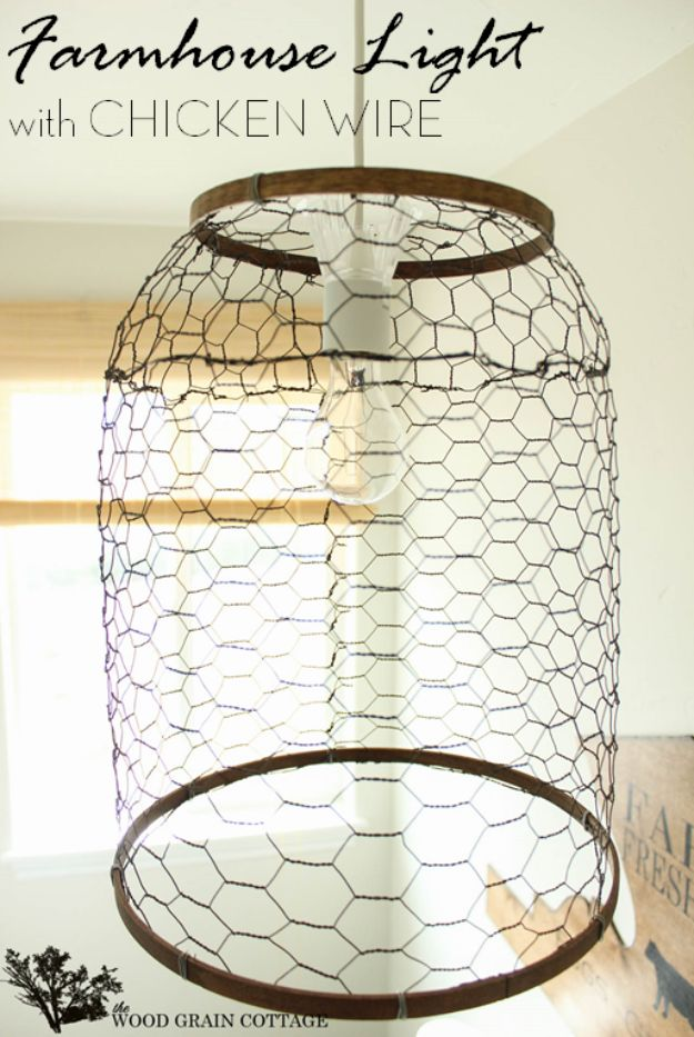 DIY Lighting Ideas and Cool DIY Light Projects for the Home - Farmhouse Light With Chicken Wire - Easy DIY Ideas for Chandeliers, lights, lamps, awesome pendants and creative hanging fixtures, complete with tutorials with instructions. Cheap do it yourself lighting tutorials for indoor - bedroom, living room, bathroom, kitchen DIY Projects and Crafts for Women and Men