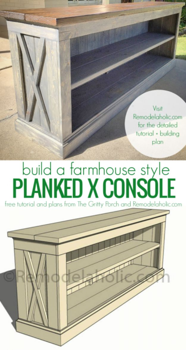 DIY Media Consoles and TV Stands - Farmhouse Style TV Console - Make a Do It Yourself Entertainment Center With These Easy Step By Step Tutorials - Easy Farmhouse Decor Media Stand for Television - Free Plans and Instructions for Building and Painting Your Own DIY Furniture - IKEA Hacks for TV Stand Idea - Quick and Easy Ways to Decorate Your Home On A Budget http://diyjoy.com/diy-tv-media-consoles
