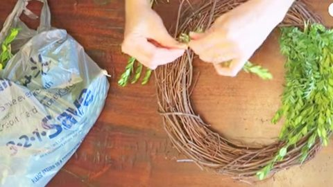 She Attaches Boxwood Clippings To A Wreath, Then She Hangs It On A Cool Farmhouse Item! | DIY Joy Projects and Crafts Ideas