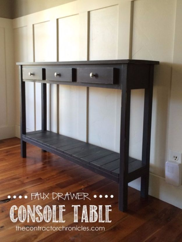 DIY Media Consoles and TV Stands - Faux Drawer Farmhouse Console Table - Make a Do It Yourself Entertainment Center With These Easy Step By Step Tutorials - Easy Farmhouse Decor Media Stand for Television - Free Plans and Instructions for Building and Painting Your Own DIY Furniture - IKEA Hacks for TV Stand Idea - Quick and Easy Ways to Decorate Your Home On A Budget http://diyjoy.com/diy-tv-media-consoles