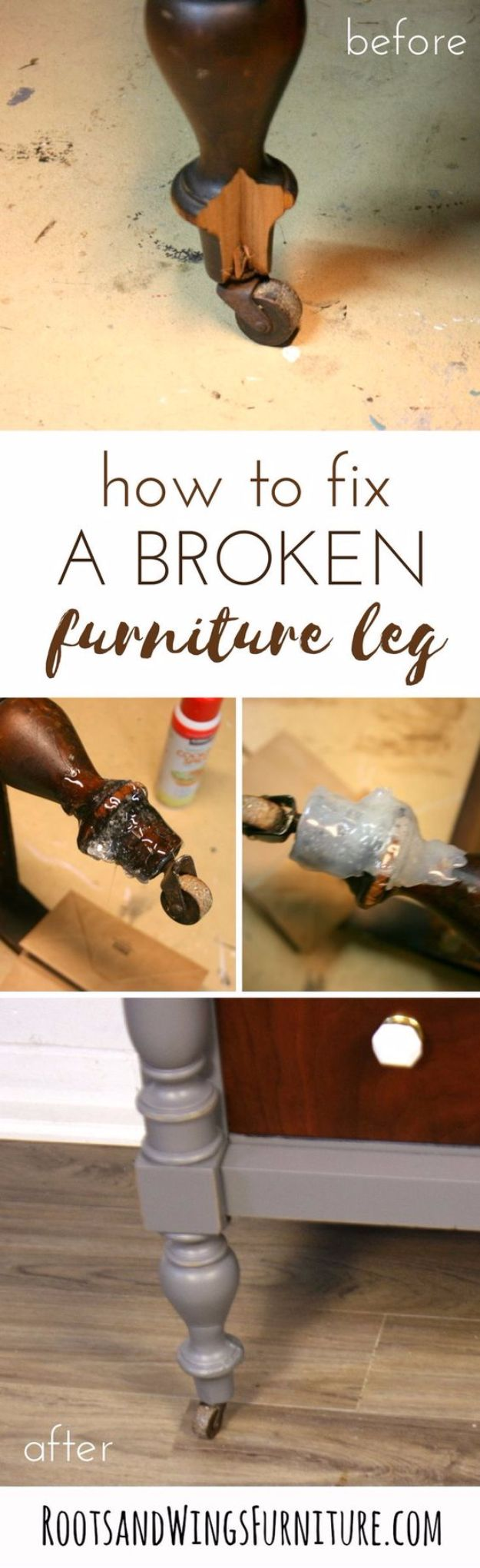 Easy Home Repair Hacks - Fix A Broken Furniture Leg - Quick Ways to Easily Fix Broken Things Around The House - DIY Tricks for Home Improvement and Repairs - Simple Solutions for Kitchen, Bath, Garage and Yard - Caulk, Grout, Wall Repair and Wood Patching and Staining http://diyjoy.com/easy-home-repair-hacks