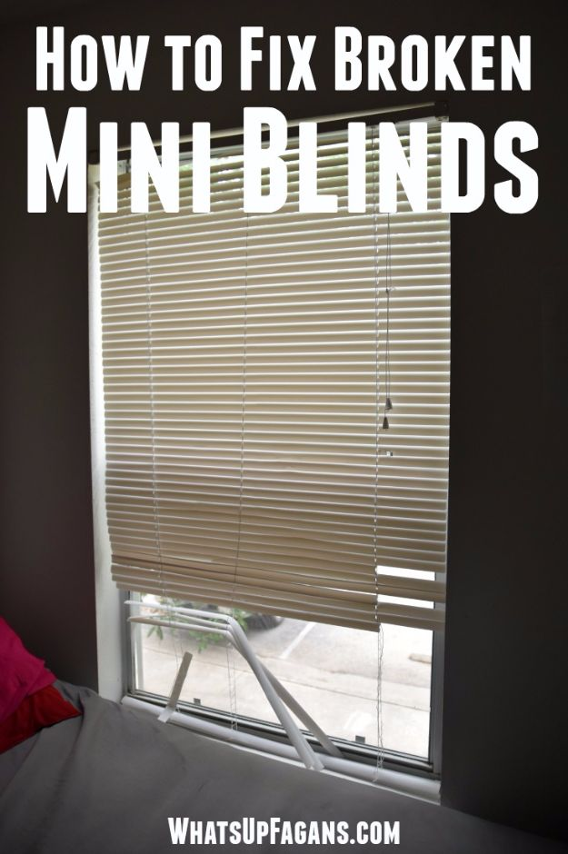 Easy Home Repair Hacks - Fix Broken Mini Blinds - Quick Ways to Easily Fix Broken Things Around The House - DIY Tricks for Home Improvement and Repairs - Simple Solutions for Kitchen, Bath, Garage and Yard - Caulk, Grout, Wall Repair and Wood Patching and Staining #hacks #homeimprovement