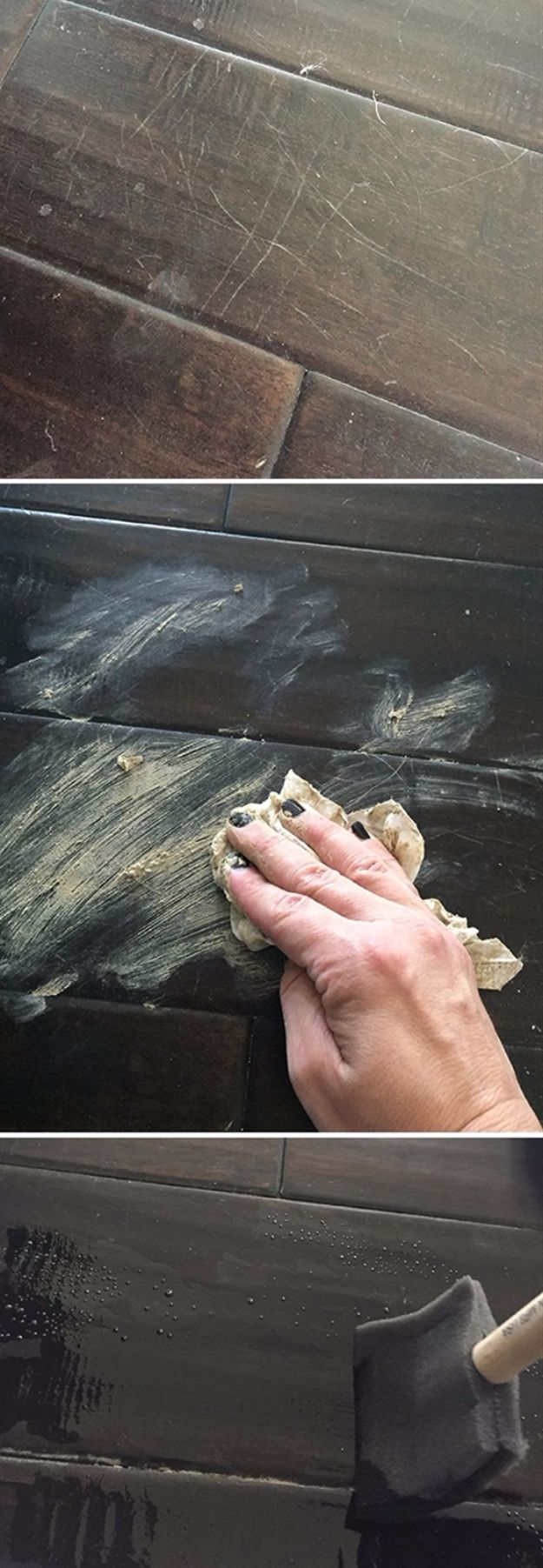 Easy Home Repair Hacks - Fix Scratches In Wood Floors - Quick Ways to Easily Fix Broken Things Around The House - DIY Tricks for Home Improvement and Repairs - Simple Solutions for Kitchen, Bath, Garage and Yard - Caulk, Grout, Wall Repair and Wood Patching and Staining http://diyjoy.com/easy-home-repair-hacks