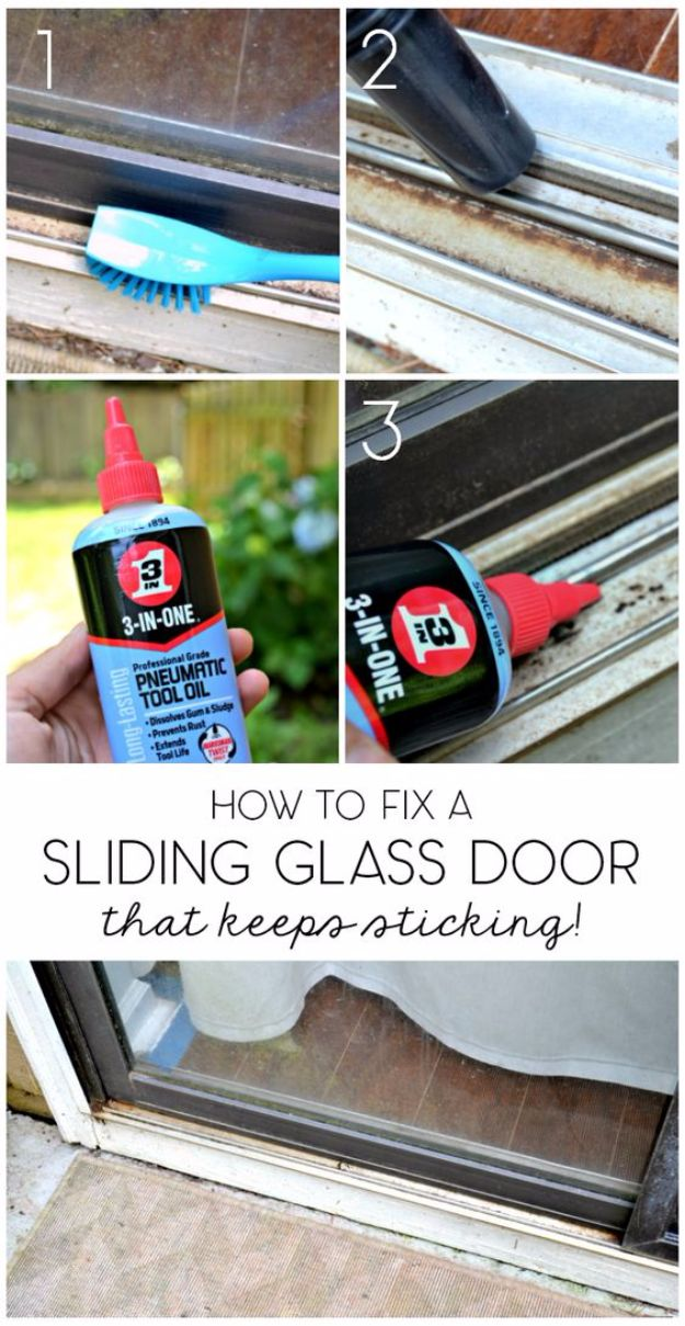 Easy Home Repair Hacks - Fix Sliding Glass Door - Quick Ways To Fix Your Home With Cheap and Fast DIY Projects - Step by step Tutorials, Good Ideas for Renovating, Simple Tips and Tricks for Home Improvement on A Budget - Save Money and Time on Small Bathrooms, Kitchen, Bathroom, House and Household http://diyjoy.com/best-home-repair-hacks