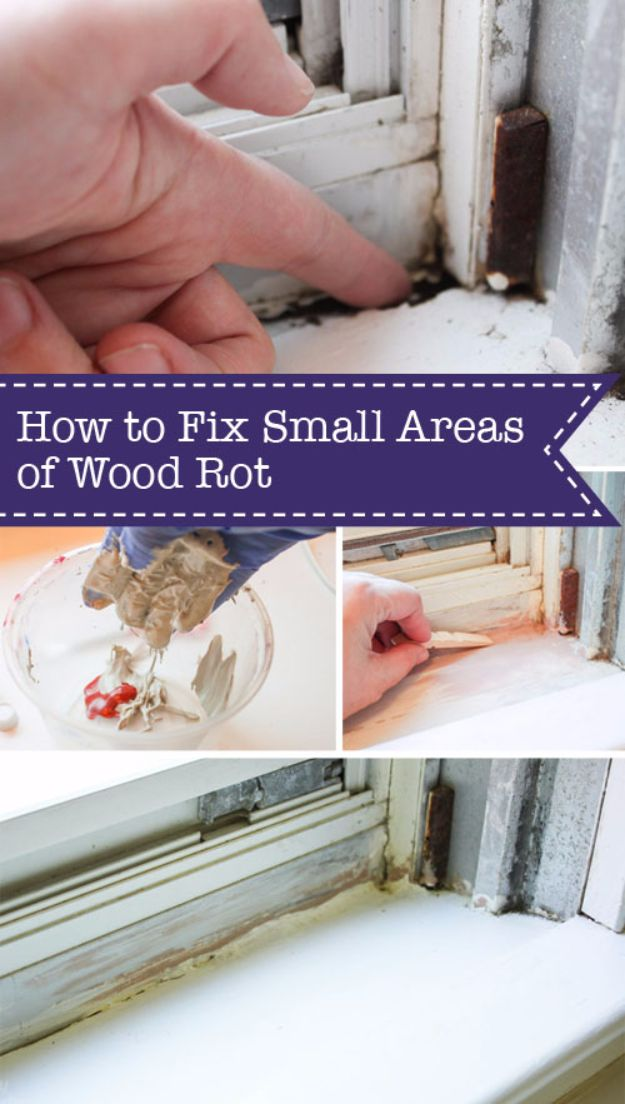 Easy Home Repair Hacks - Fix Small Areas of Wood Rot - Quick Ways to Easily Fix Broken Things Around The House - DIY Tricks for Home Improvement and Repairs - Simple Solutions for Kitchen, Bath, Garage and Yard - Caulk, Grout, Wall Repair and Wood Patching and Staining http://diyjoy.com/easy-home-repair-hacks
