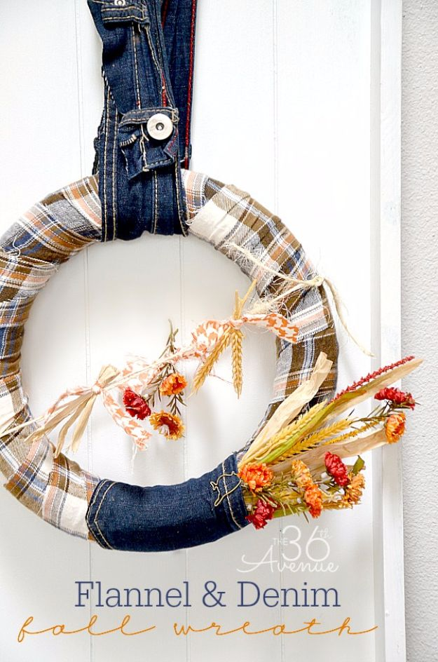 Best Crafts for Fall Decorating - Flannel And Denim Fall Wreath - DIY Home Decor, Mason Jar Ideas, Dollar Store Crafts, Rustic Pumpkin Ideas, Wreaths, Candles and Wall Art, Centerpieces
