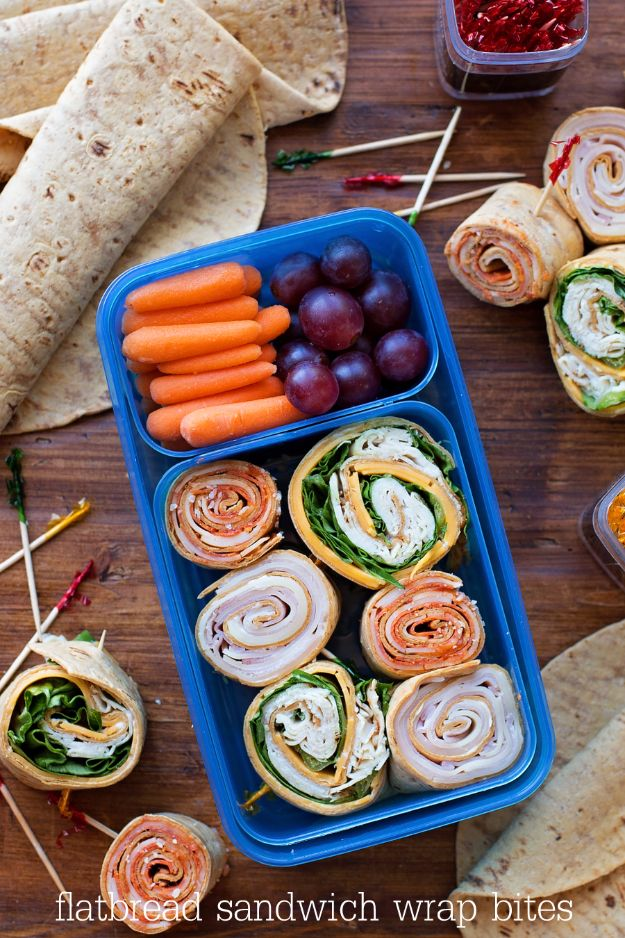 Back to School Lunch Ideas - Flatbread Wrap Bites - Quick Snacks, Lunches and Homemade Lunchables - Bento Box Style Lunch for People in A Hurry - Fast Lunch Recipes to Pack Ahead - Healthy Ideas for Kids, Teens and Adults