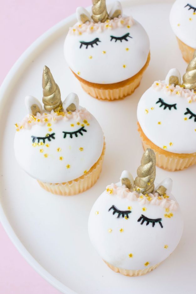 Cool Cupcake Decorating Ideas - Fondant Unicorn Cupcakes - Easy Ways To Decorate Cute, Adorable Cupcakes - Quick Recipes and Simple Decorating Tips With Icing, Candy, Chocolate, Buttercream Frosting and Fruit kids birthday party ideas cake