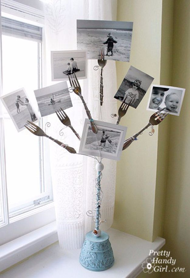DIY Silverware Upgrades - Fork Photo Holder Base - Creative Ways To Improve Boring Silver Ware and Palce Settings - Paint, Decorate and Update Your Flatware With These Creative Do IT Yourself Tutorials- Forks, Knives and Spoons all Get Dressed Up With These New Looks For Kitchen and Dining Room