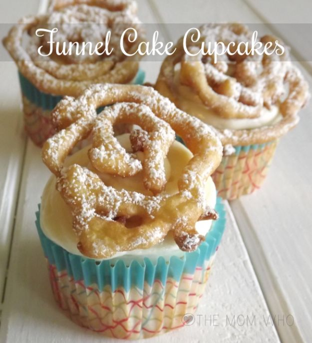 Cool Cupcake Decorating Ideas - Funnel Cake Cupcakes - Easy Ways To Decorate Cute, Adorable Cupcakes - Quick Recipes and Simple Decorating Tips With Icing, Candy, Chocolate, Buttercream Frosting and Fruit - Best Party and Birthday Party Ideas for Kids and Adults http://diyjoy.com/cupcake-decorating-ideas