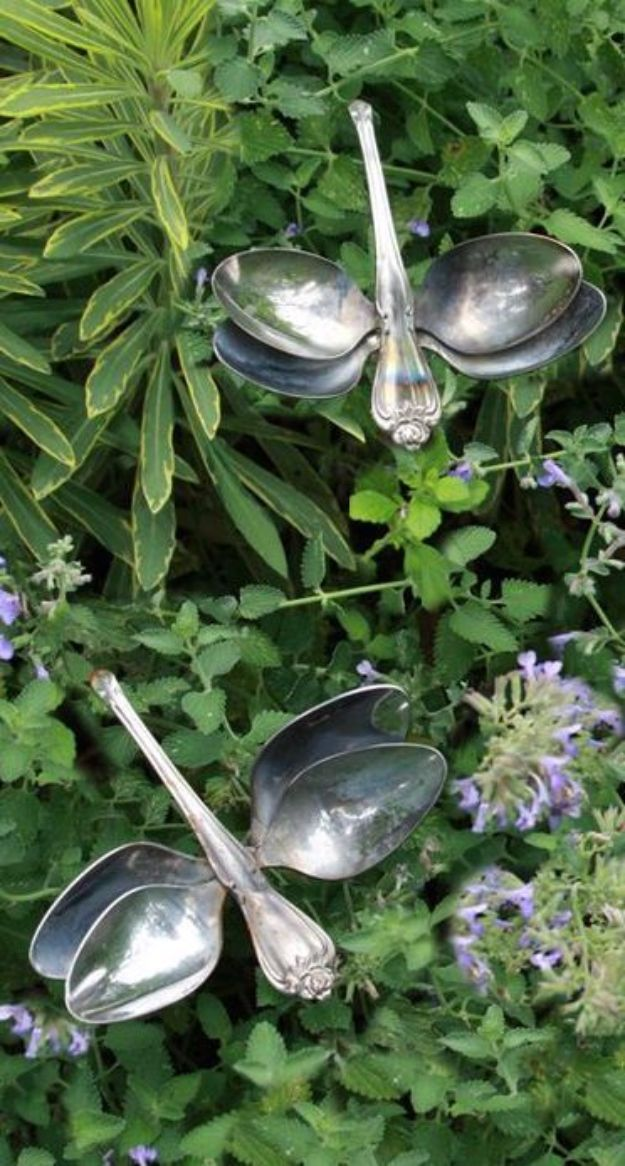 DIY Silverware Upgrades - Garden Dragonflies - Creative Ways To Improve Boring Silver Ware and Palce Settings - Paint, Decorate and Update Your Flatware With These Creative Do IT Yourself Tutorials- Forks, Knives and Spoons all Get Dressed Up With These New Looks For Kitchen and Dining Room