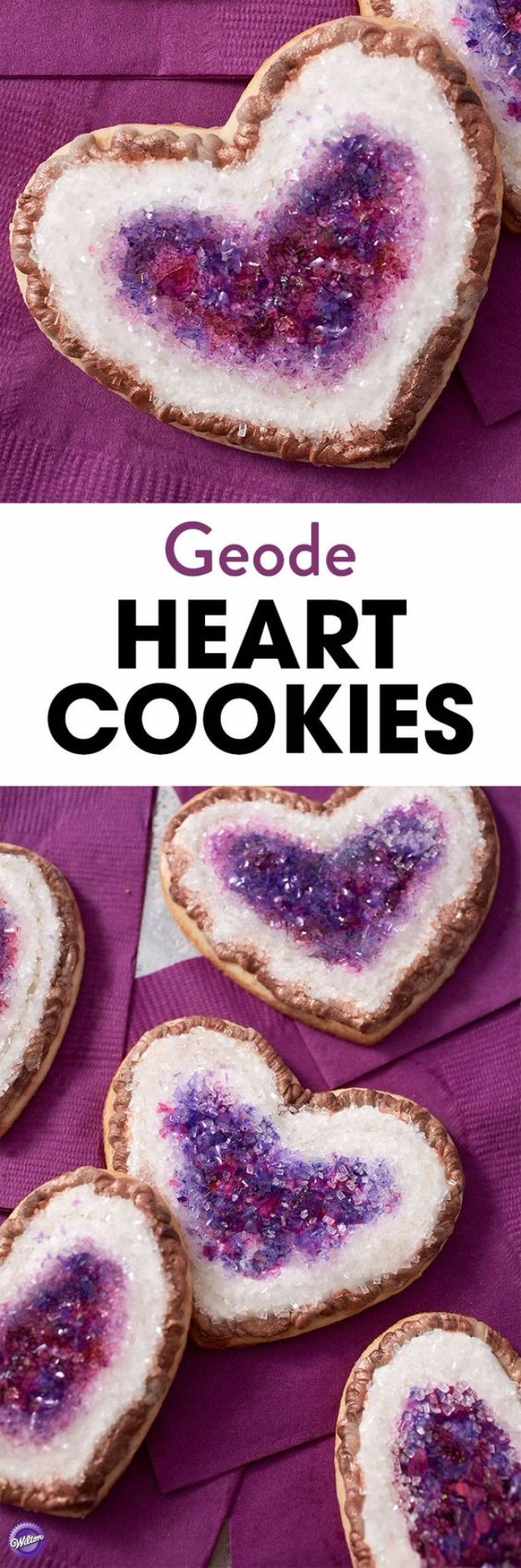 Cool Cookie Decorating Ideas - Geode Heart Cookies - Easy Ways To Decorate Cute, Adorable Cookies - Quick Recipes and Simple Decorating Tips With Icing, Candy, Chocolate, Buttercream Frosting and Fruit - Best Party Trays and Cookie Arrangements http://diyjoy.com/cookie-decorating-ideas