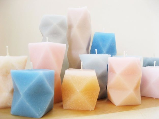 DIY Ideas for Candles - Geometric Candles - Cute, Cheap and Creative Ways to Decorate With Candles - Votives and Candle Holders Make Some Of Our Favorite Home Decor Ideas and Homemade Do It Yourself Gifts - Give One of These Inexpensive Ideas to Mom, Dad and Friends - Easy Dollar Store Crafts With Candle http://diyjoy.com/diy-ideas-candles