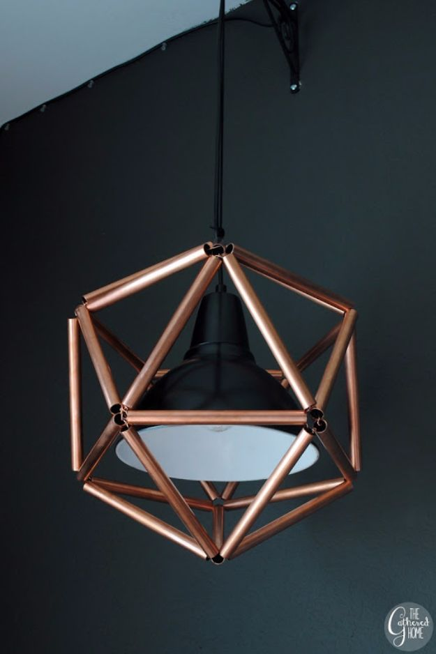 DIY Lighting Ideas and Cool DIY Light Projects for the Home - Geometric Copper Pendant Light - Easy DIY Ideas for Chandeliers, lights, lamps, awesome pendants and creative hanging fixtures, complete with tutorials with instructions. Cheap do it yourself lighting tutorials for indoor - bedroom, living room, bathroom, kitchen DIY Projects and Crafts for Women and Men