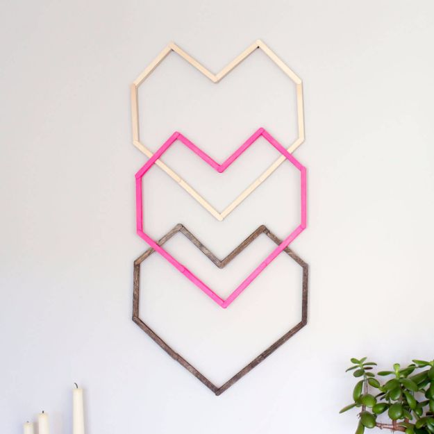 Rustic Wall Art Ideas - Geometric Heart DIY Wall Art - DIY Farmhouse Wall Art and Vintage Decor for Walls - Country Crafts and Rustic Home Decor Made Easy With Instructions and Tutorials - String Art, Repurposed Pallet Projects, Mason Jar Crafts, Vintage Signs, Word Art and Letters, Monograms and Sewing Projects http://diyjoy.com/rustic-wall-art-ideas