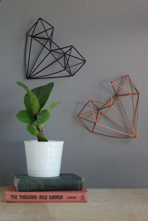 Rustic Wall Art Ideas - Geometric Himmeli Heart - DIY Farmhouse Wall Art and Vintage Decor for Walls - Country Crafts and Rustic Home Decor Made Easy With Instructions and Tutorials - String Art, Repurposed Pallet Projects, Mason Jar Crafts, Vintage Signs, Word Art and Letters, Monograms and Sewing Projects